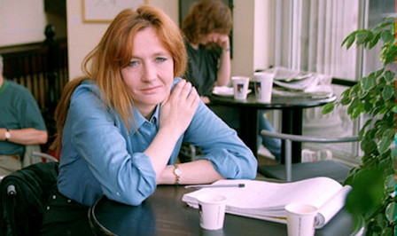 Rowling penning down her imagination in a local café. (1998)