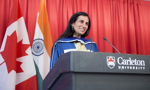Kochhar giving her speech after receiving an honorary degree from Carleton University (2014)