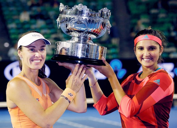 Sania Mirza and Martina Hingis after winning the Women's Doubles title at Australian Open