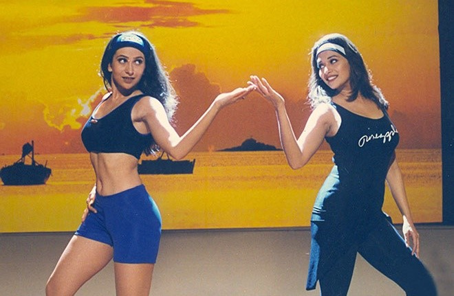 Karishma Kapoor and Madhuri Dixit during the 'Dance of Envy' sequence in Dil Toh Pagal Hai (1997)