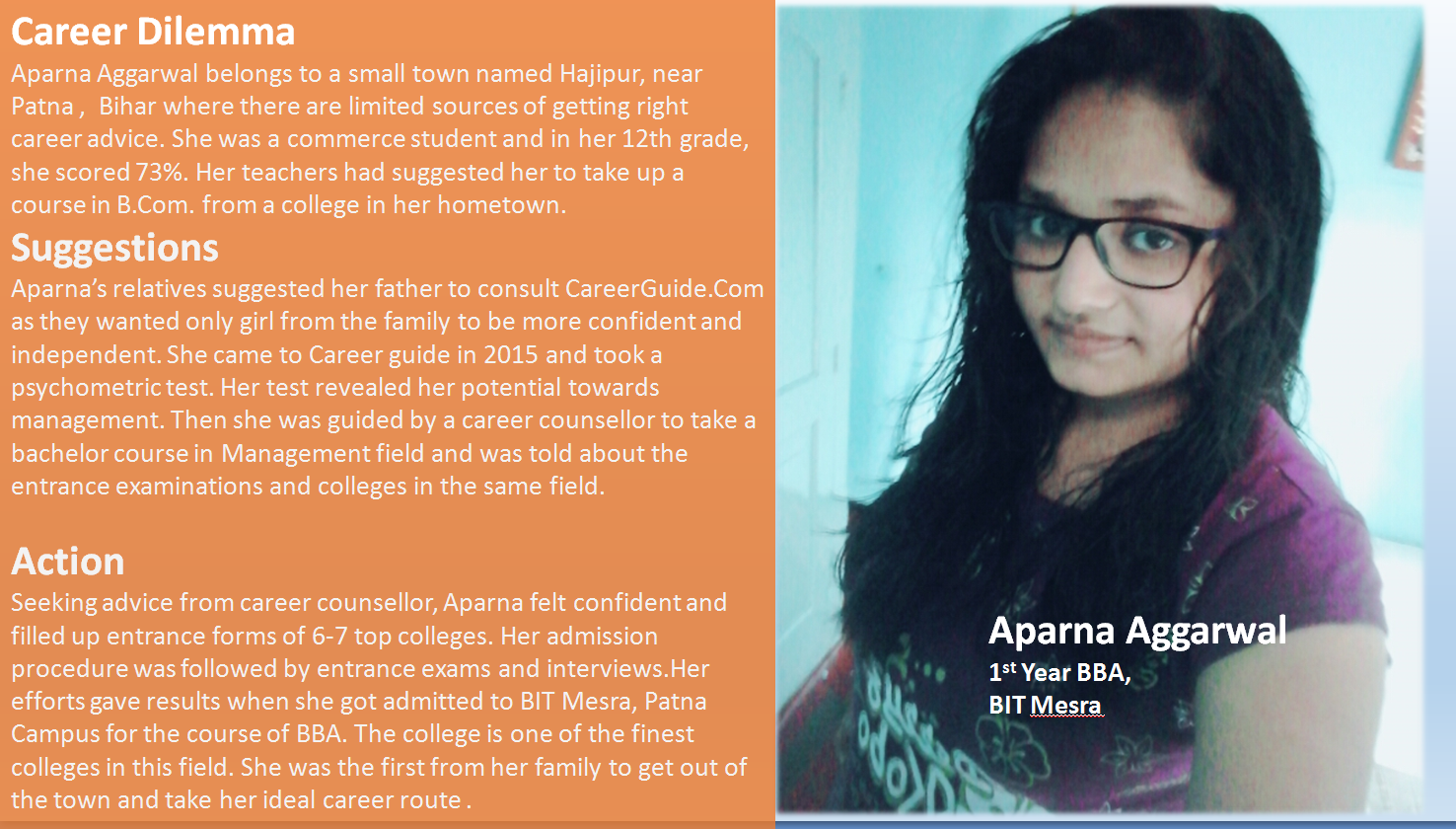 Career Guidance helped Aparna to get admission in BIT Mesra