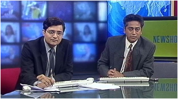 Arnab Goswami with Rajdeep Sardesai at the NDTV studio in New Delhi (1990s)
