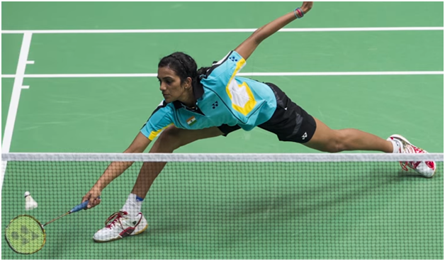 Sindhu playing the bronze medal match at the 2014 Commonwealth Games