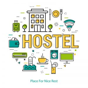 Hostel Line Concept Vector Round Web Banner Best Modern Thin Icons Three Colors Big Letters As Caption Pictographs 92282421