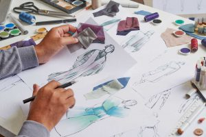 Fashion Designer Stylish Drawings Sketches Textile Fabric Materi