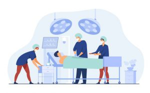 Surgeons Team Surrounding Patient Operation Table Flat Vector Illustration Cartoon Medical Workers Preparing Surgery Medicine Technology Concept 74855 8596