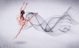 Modern Ballet Dancer Performing With Abstract Swirl