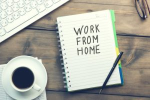 Work From Home Text Written On Page And Coffee And Keyboard On Table