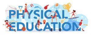 Physical Education Lesson School Class Typographic Header Concept Students Doing Excercise Gym With Sport Equipment 277904 6347